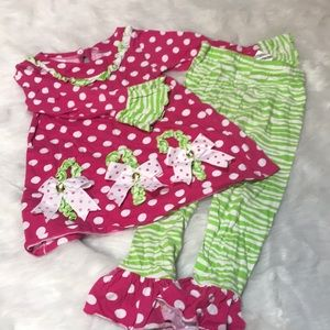 Toddler Pink & Green Ruffle Candy Cane 2 Piece Set